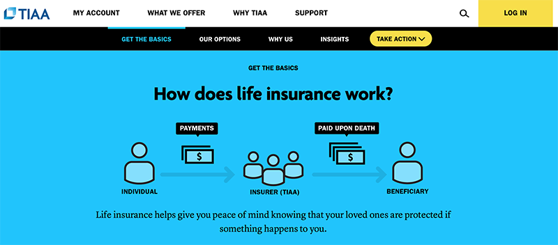 Screenshot of TIAA Life Insurance Education