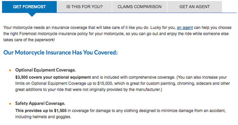 Screenshot of Foremost Motorcycle Insurance