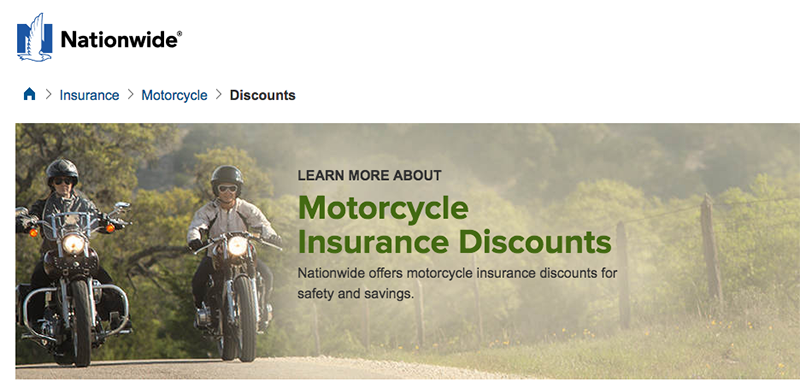 Screenshot of Nationwide motorcycle insurance
