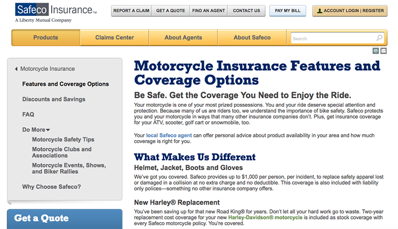 Screenshot of Safeco Motorcycle Insurance